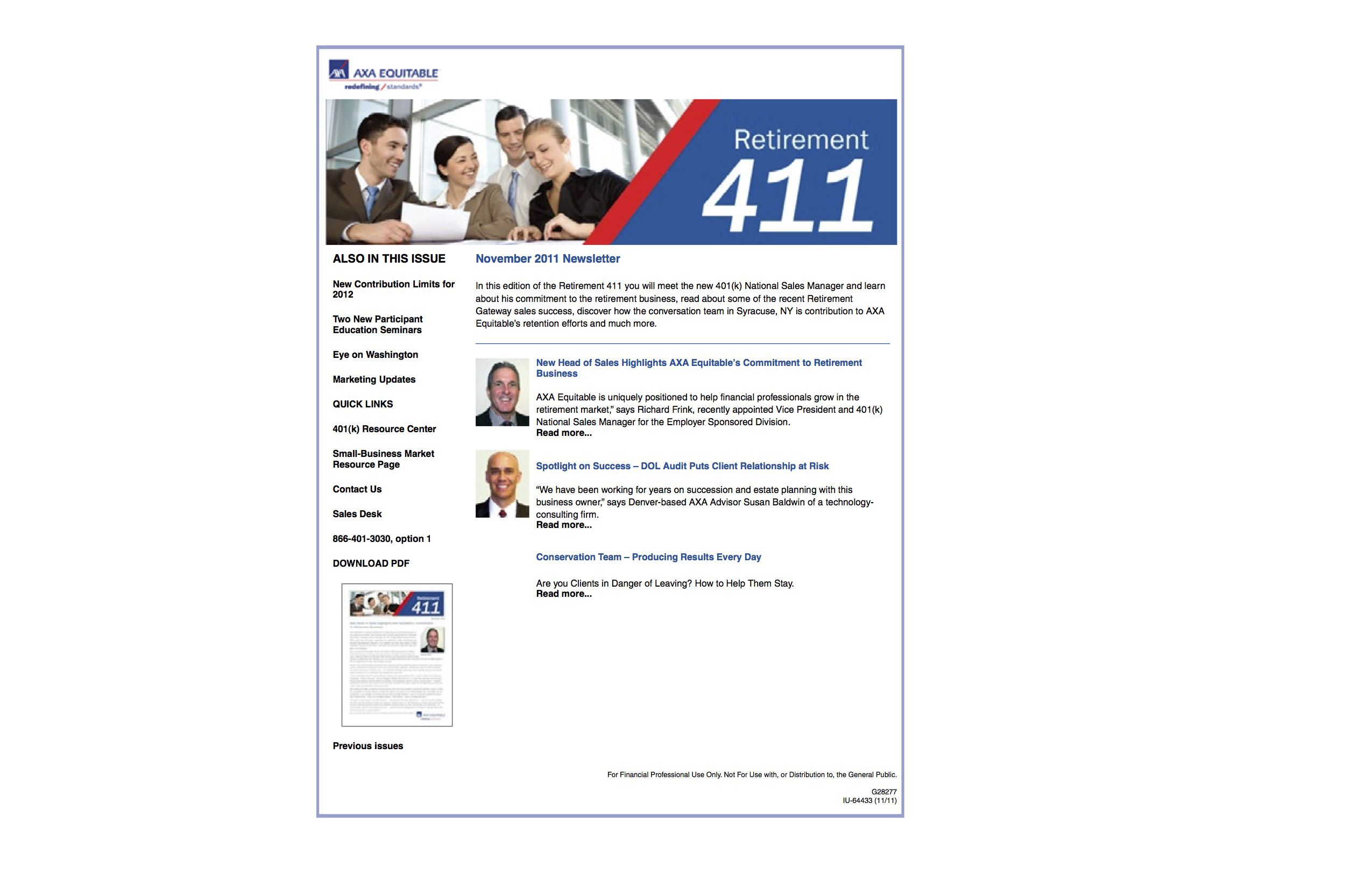 AXA Equitable Newsletter